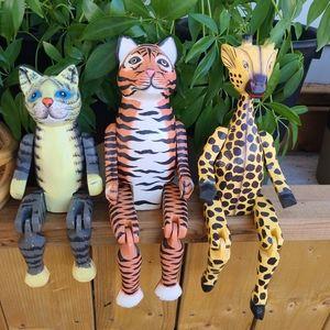Vintage trio of wooden animal shelf sitters